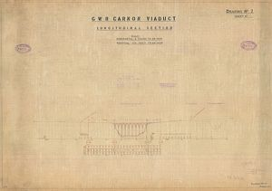 G.W.R Carnon Viaduct Drawing no.2 Longitudinal Section [1931]