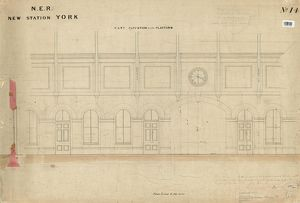 N.E.R New Station York - Part Elevation next to Platform, drawing no.14 [1877]