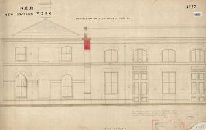 N.E.R New Station York - West Elevation anf Interior of Portico [1877]