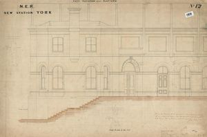 N.E.R. New Station York - Part Elevation next to Platform drawing no.12 [1877]