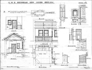 G.W.R Keynsham Drawing no.5 - New Goods Shed etc - sections and plans of Office [1910]