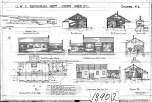G.W.R Keynsham Drawing no.1 - New Goods Shed etc - general plan, elevations and sections
