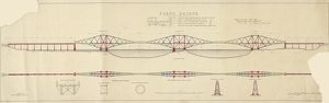 Forth Bridge. Elevation and Section (Coloured)
