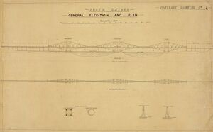 Forth Bridge. General Elevation and Plan