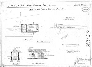 G.W and G.C.Railways High Wycombe Station - New Porters Room & Store on Down side [1902]