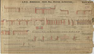GWR Birmingham Snow Hill - station alterations dwg no. 14 (1918?)