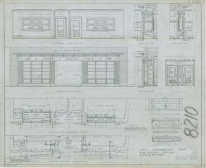 LMS Longbridge GWR New Goods Offices - details of front (02/1940)