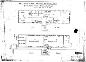 LNER Southern Area Knebworth New Control Office - Plan of heating showing radiators