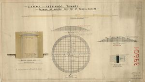 L&N.W.R Ffetiniog Tunnel - Details of screen for top of tunnel shafts including plan