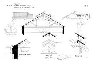 N.E.R Alnmouth [Bilton] Engine Shed - Proposed Extension Roof Details [1887]