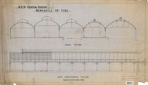 N.E.R Central Station Newcatle On Tyne - Part Longitudinal Section [1892]