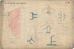 NER New York Goods Warehouse-details of castings to roof principles