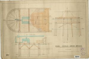 Pier - Goole Swing Bridge, plan of superstructure and sections [1888]