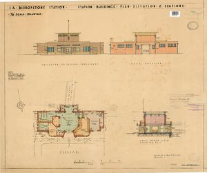 S.R. Bishopstone Station - Station Buildings: Plan, Elevation and Sections - 1/8