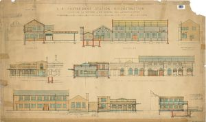 S.R. Eastbourne Station Reconstruction - Elevations and Sections of New Booking Hall