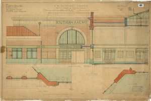 S.R. Hastings Station - Half inch Details of Entrance Facade [1930]