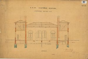 S.E.R Hastings Station - Drawing no.10 Longitudinal Section C.D [1850]