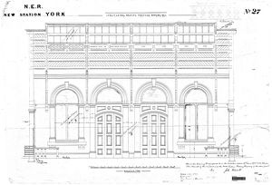 N.E.R. New Station York - Longitudinal Section through Booking Hall [1877]