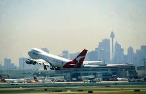 Airports: Sydney with Qantas Boeing 747 taking-off
