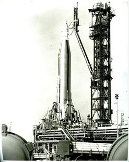 Atlas Antares Rocket attached to a Project Fire Spacecraft at Cape Kenedy May 1965