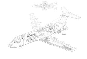BAC One eleven 475 Cutaway Drawing