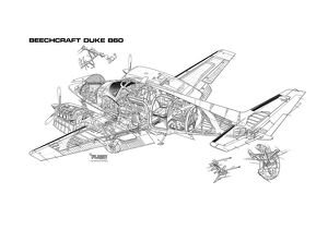 Beechcraft Duke B60 Cutaway Drawing