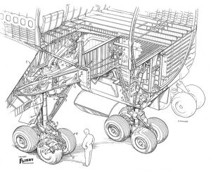 Boeing 747-100 Undercarriage Cutaway Drawing