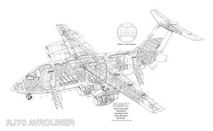 British Aerospace RJ70 Avroliner Cutaway Drawing