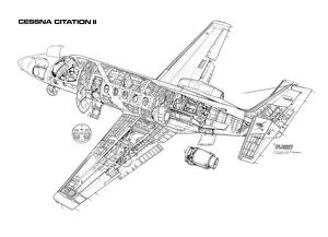 Cessna Citation II Cutaway Drawing