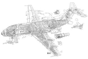 Fokker F.28 Fellowship Cutaway Drawing