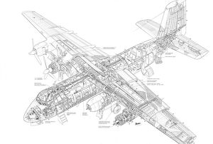Handley page Piston Herald Cutaway Drawing