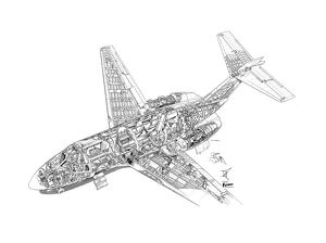 Hawker Siddeley HS125 Cutaway Drawing