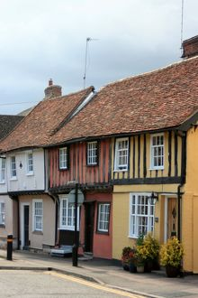 Coloured houses at Saffron Walden, Essex, UK