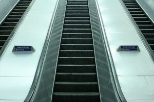 Escalators at Charing Cross underground station, London