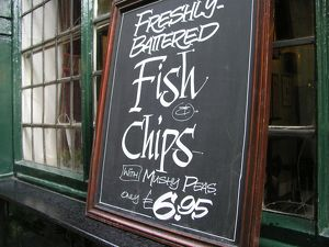 Fish and chips sign