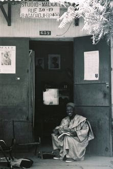 Malik Sidibe outside his studio, Bamako, Mali
