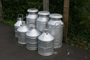 Milk churns at Williton station, Somerset