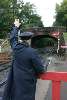 Station master at Bishops Lydeard station, Somerset