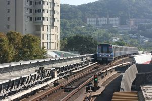 Taipei MRT train arriving at Shilin, Taipei, Taiwan
