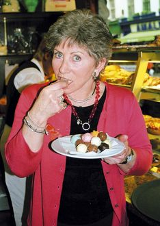 Valerie Singleton eating truffles