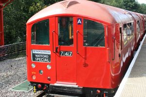 Vintage London Underground train at Amersham station