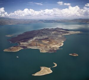 An aerial view of South Island, Lake Turkana's largest island