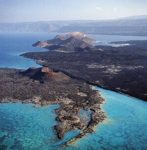 An aerial view of the volcanic cones at the inlet of