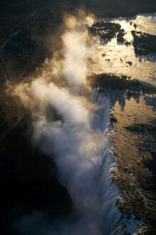 Aerial view of the Zambezi River as it plummets over