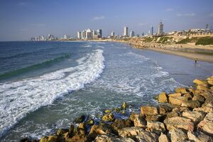 Beach and Tel Aviv from Jaffo Old Port, Israel