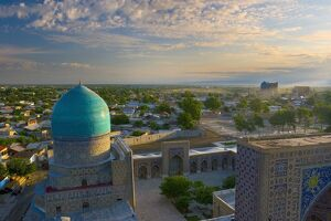The blue domes of The Registan, Samarkand, Uzbekistan
