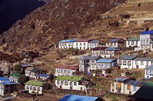 Brightly painted roofs of the tightly packed houses in Namche Bazaar