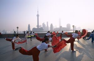 The Bund / People Exercising / Pudong Skyline in Background