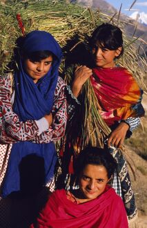 Burusho girls return home with fodder for their livestock in the Hunza Valley.