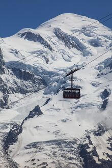 Cable car in front of Mt. Blanc from Mt. Brevent, Chamonix, Haute Savoie, Rhone Alpes